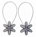 SET OF 2 MAGNETIC  PEARL GREY FLOWER CRYSTAL VOILE NET CURTAIN TIEBACKS £8.95